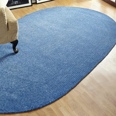 Chenille Reversible Blue Indoor/Outdoor Area Rug Rug Size: Oval 26 x 42