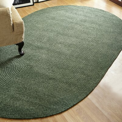 Chenille Reversible Green Indoor/Outdoor Area Rug Rug Size: Oval 26 x 42