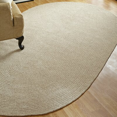 Chenille Reversible Beige Indoor/Outdoor Area Rug Rug Size: Oval 110 x 34