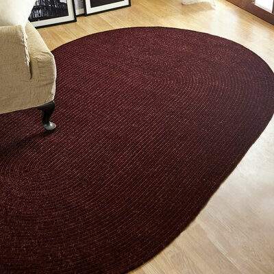 Chenille Reversible Dark Red Indoor/Outdoor Area Rug Rug Size: Oval 26 x 42