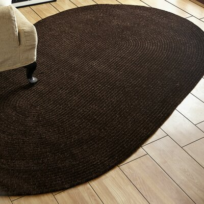 Chenille Reversible Brown Indoor/Outdoor Area Rug Rug Size: Oval 36 x 56