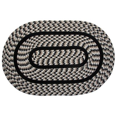 Crescent Braided Black Indoor/Outdoor Area Rug Rug Size: Round 6