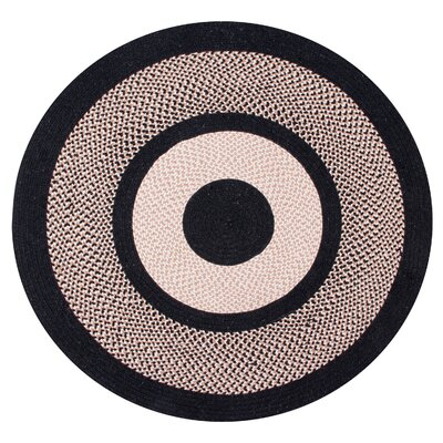 Portland Wool Braid Black Area Rug Rug Size: Round 56