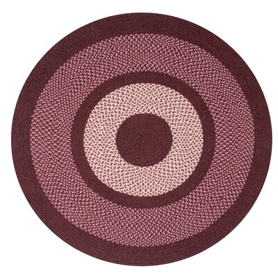 Portland Wool Braid Burgundy Area Rug Rug Size: Round 56