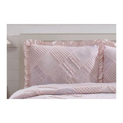 Ruffle Chenille Sham Color: Pink