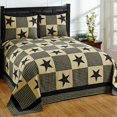 Star Bedspread Set Size: Twin, Color: Black