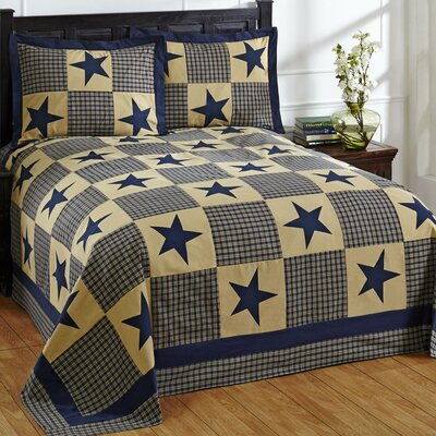 Star Bedspread Set Size: King, Color: Blue