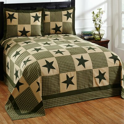 Star Bedspread Set Size: Queen, Color: Green