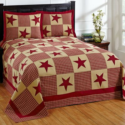 Star Bedspread Set Size: Twin, Color: Red