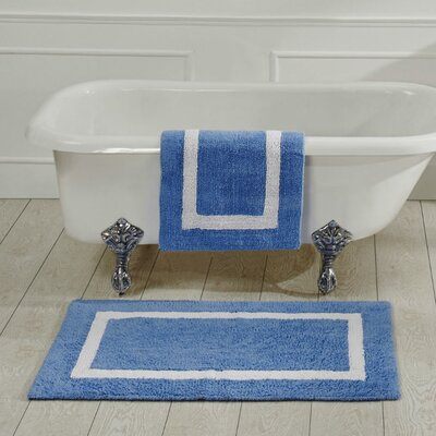 Hotel Bath Rug Size: 21 x 34, Color: Blue