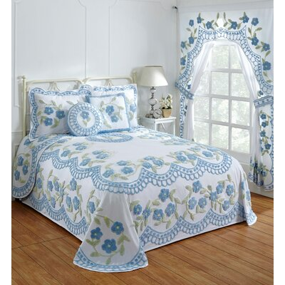 Alburtis Handcrafted Chenille Bedspread Color: Blue, Size: Queen