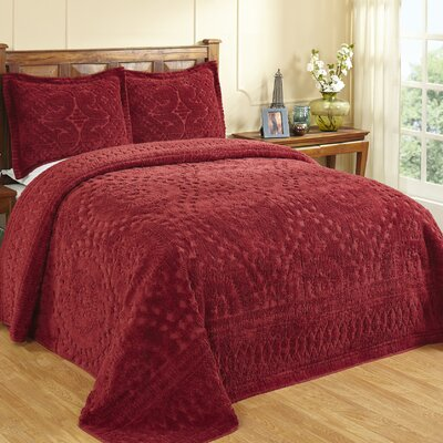 Faunia Bedspread Color: Burgundy, Size: King
