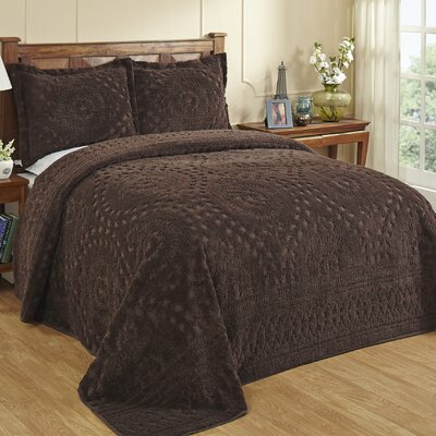 Faunia Bedspread Color: Chocolate, Size: Queen