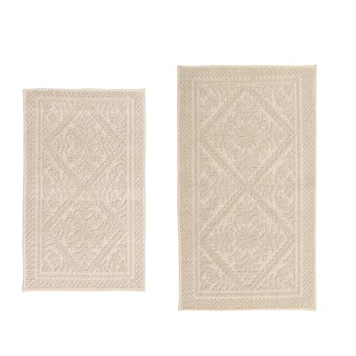 Boudreau Jacquard 2 Piece Bath Rug Set Color: Beige