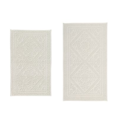 Waco Jacquard 2 Piece Bath Rug Set Color: Cream