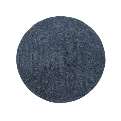 Keaton Chenille Reversible Braided Gray Area Rug Rug Size: Round 8