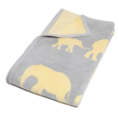 January Elephant Cotton Blend Blanket Color: Pale Gray/Yellow