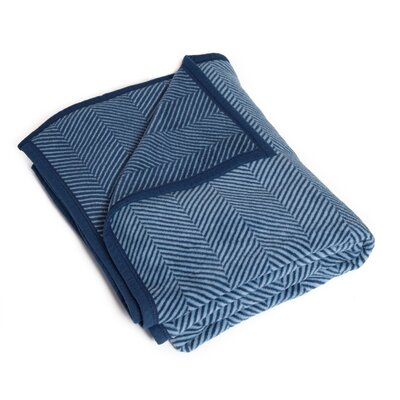 Miller Herringbone Blanket Color: Navy