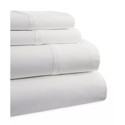 600 Thread Count 4 Piece Sheet Set Size: King, Color: White