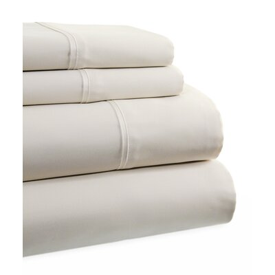 600 Thread Count 4 Piece Sheet Set Size: Full, Color: Pearl