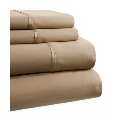 600 Thread Count 4 Piece Sheet Set Size: Queen, Color: Taupe