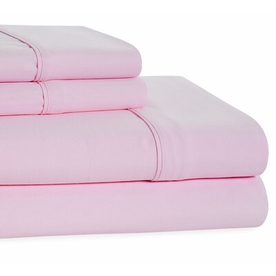 4 Piece Beauty Sleep Sheet Set Size: King, Color: Pink
