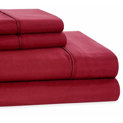 4 Piece Beauty Sleep Sheet Set Size: Queen, Color: Burgundy
