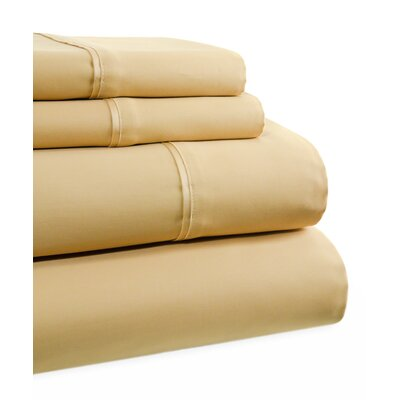 600 Thread Count 4 Piece Sheet Set Size: Queen, Color: Gold