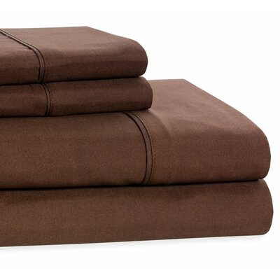 4 Piece Beauty Sleep Sheet Set Size: King, Color: Chocolate