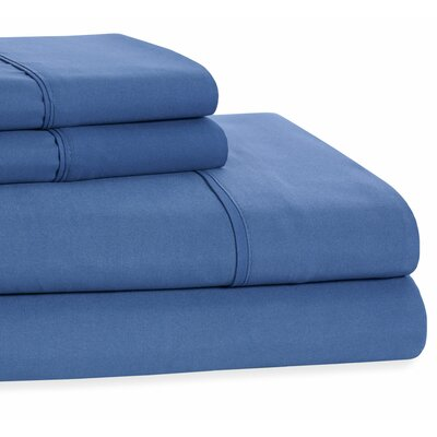 4 Piece Beauty Sleep Sheet Set Color: Royal Blue, Size: King