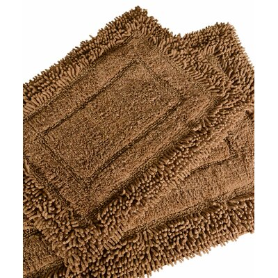 Savoy 2 Piece Shaggy Bath Mat Set Color: Chocolate