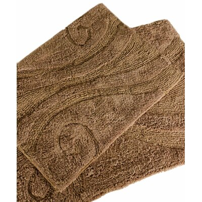 Swirl 2 Piece Bath Rug Set Color: Chocolate