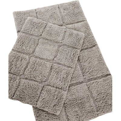 Pacific Block 2 Piece Bath Rug Set Color: Grey