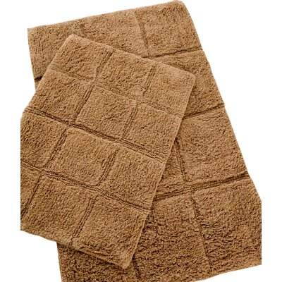 Pacific Block 2 Piece Bath Rug Set Color: Chocolate