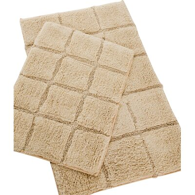 Pacific Block 2 Piece Bath Rug Set Color: Linen