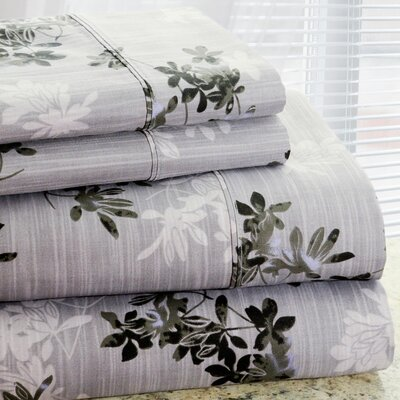 Park Avenue 350 Thread Count 4 Piece Cotton Rich Plum Flower Printed Sheet Set Size: King