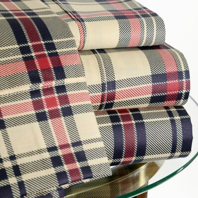 200 Thread Count Plaid Sheet Set Size: Queen