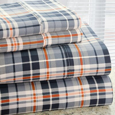 Park Avenue 350 Thread Count Cotton Rich Plaid Printed Sheet Set Size: Queen