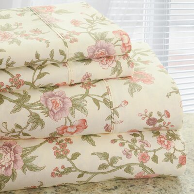 Park Avenue 350 Thread Count 4 Piece Cotton Rich Rose Flower Printed Sheet Set Size: Queen