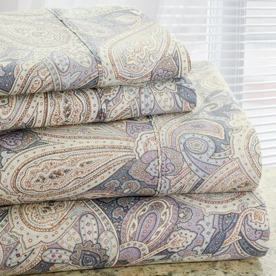 Park Avenue 350 Thread Count 4 Piece Cotton Rich Paisley Printed Sheet Set Size: Full
