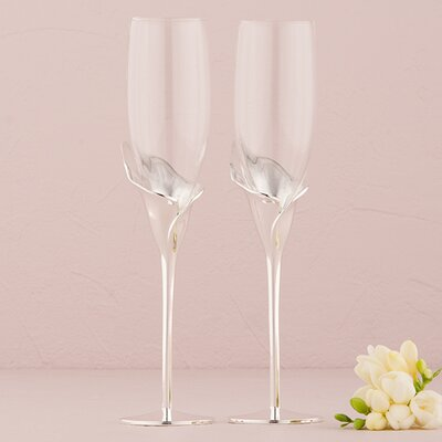 Calla Lily Wedding Toasting Champagne Flute Glass