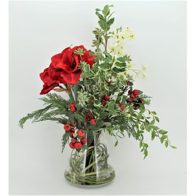 Amaryllis and Festive Greenary Mixed Floral Arrangement in Glass Vase Flower Color: Red