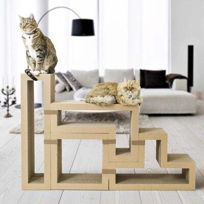 Katris Modular Cat Tree Shape: Bundle of 5 (includes 1 of each shape), Color: Brown