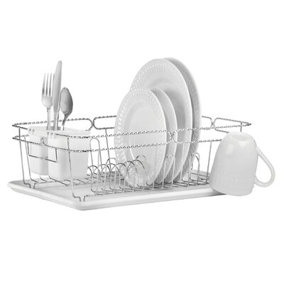 3 Piece Twisted Dish Rack Set Color: White