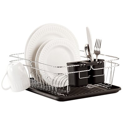 3 Piece Twisted Dish Rack Set Color: Black