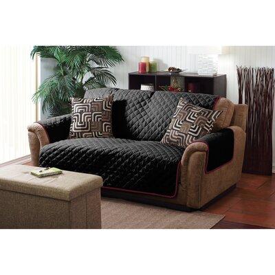 Double Sided Box Cushion Loveseat Slipcover Upholstery: Burgundy / Black