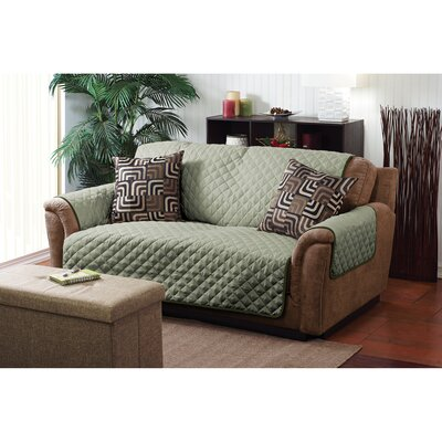 Double Sided Box Cushion Loveseat Slipcover Upholstery: Sage / Olive