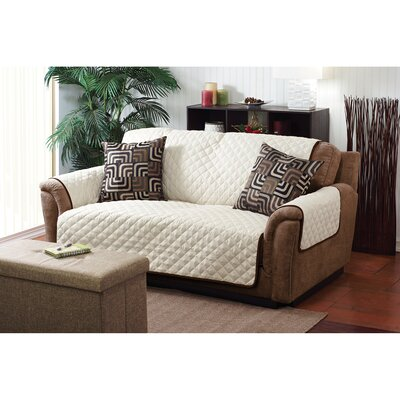 Double Sided Box Cushion Loveseat Slipcover Upholstery: Chocolate / Taupe