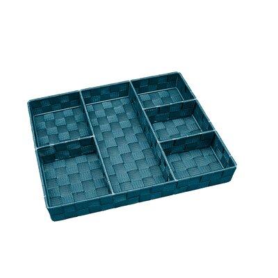 6 Compartment Woven Strap Drawer Organizer Color: Sapphire