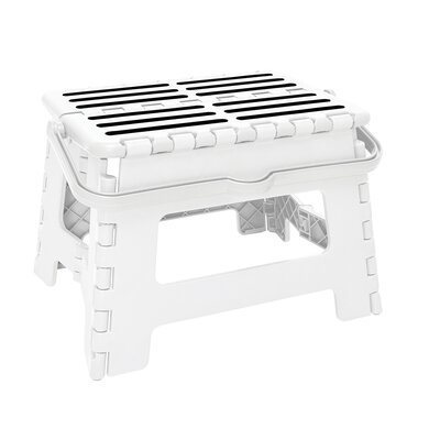 1-Step Plastic Folding Step Stool with 200 lb. Load Capacity Color: White
